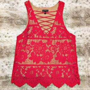 EUC Express Red Lace Top